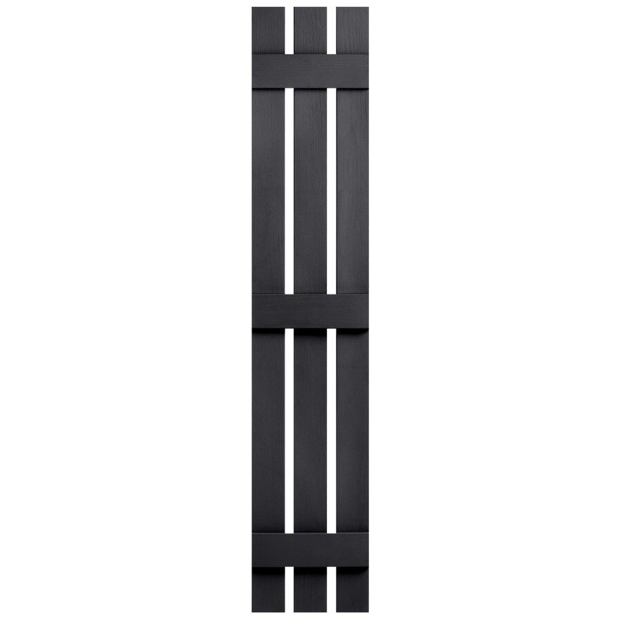 Severe Weather 2-Pack Black Board and Batten Vinyl Exterior Shutters (Common: 12-in x 71-in; Actual: 12.38-in x 71-in)