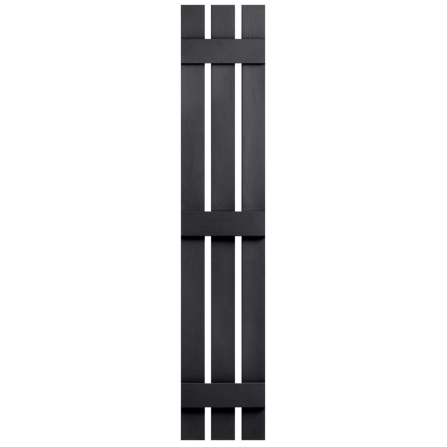 Severe Weather 2-Pack Black Board and Batten Vinyl Exterior Shutters (Common: 12-in x 81-in; Actual: 12.38-in x 81-in)