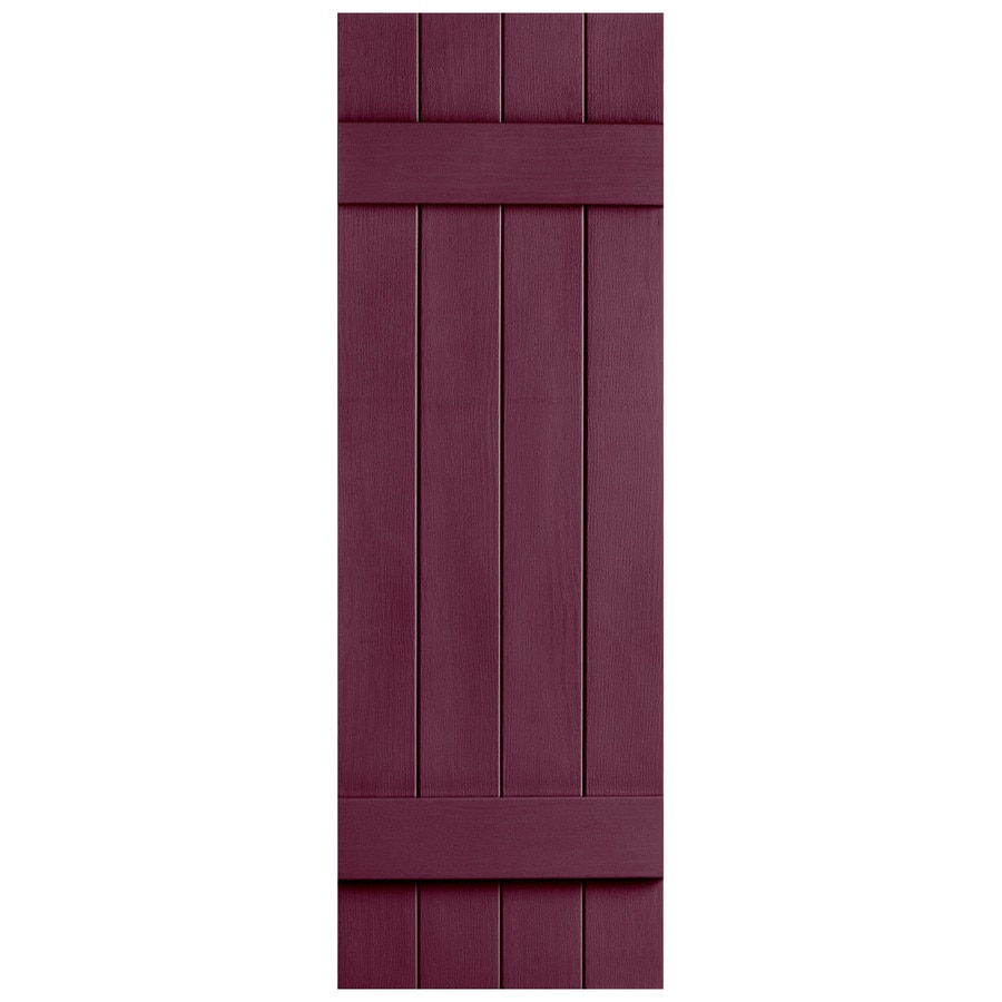 Severe Weather 2-Pack Bordeaux Board and Batten Vinyl Exterior Shutters (Common: 14-in x 43-in; Actual: 14.31-in x 43-in)