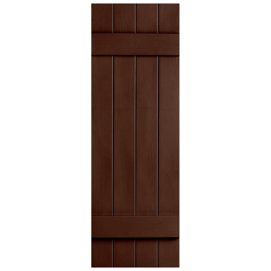 Severe Weather 2-Pack Brown Board and Batten Vinyl Exterior Shutters (Common: 14-in x 43-in; Actual: 14.31-in x 43-in)