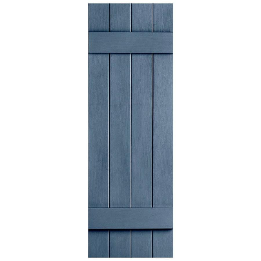 Severe Weather 2-Pack Midnight Blue Board and Batten Vinyl Exterior Shutters (Common: 14-in x 43-in; Actual: 14.31-in x 43-in)