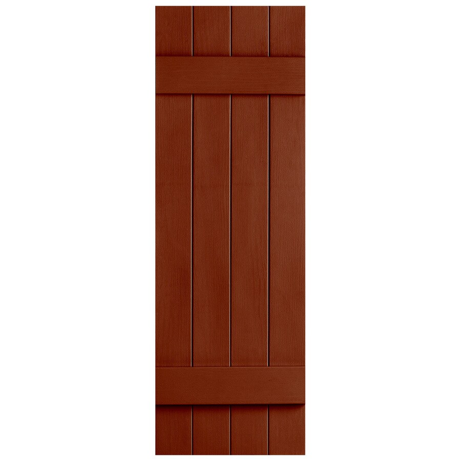 Severe Weather 2-Pack Earthen Red Board and Batten Vinyl Exterior Shutters (Common: 14-in x 47-in; Actual: 14.31-in x 47-in)