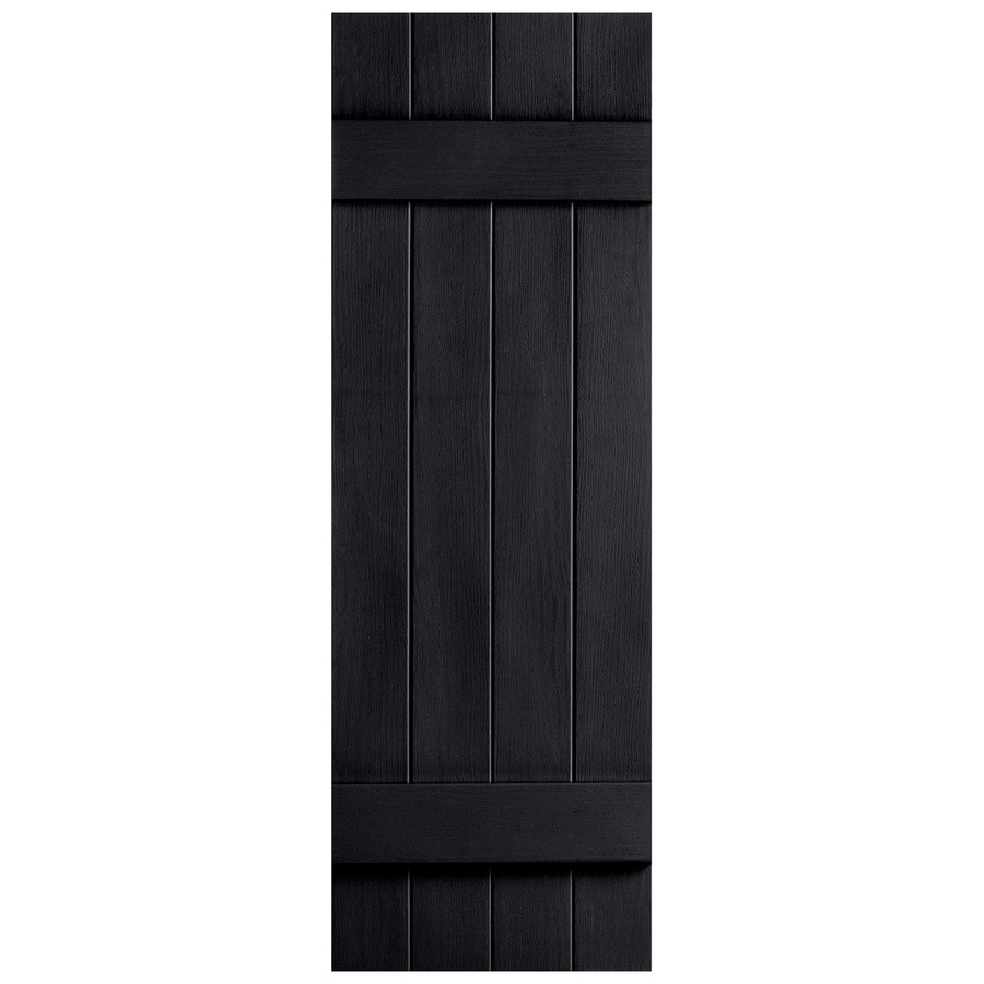 Severe Weather 2-Pack Black Board and Batten Vinyl Exterior Shutters (Common: 14-in x 47-in; Actual: 14.31-in x 47-in)