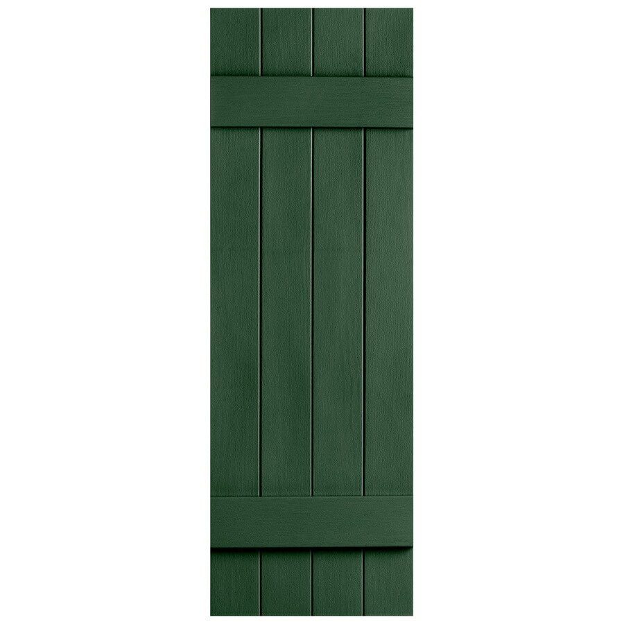 Severe Weather 2-Pack Heritage Green Board and Batten Vinyl Exterior Shutters (Common: 14-in x 47-in; Actual: 14.31-in x 47-in)