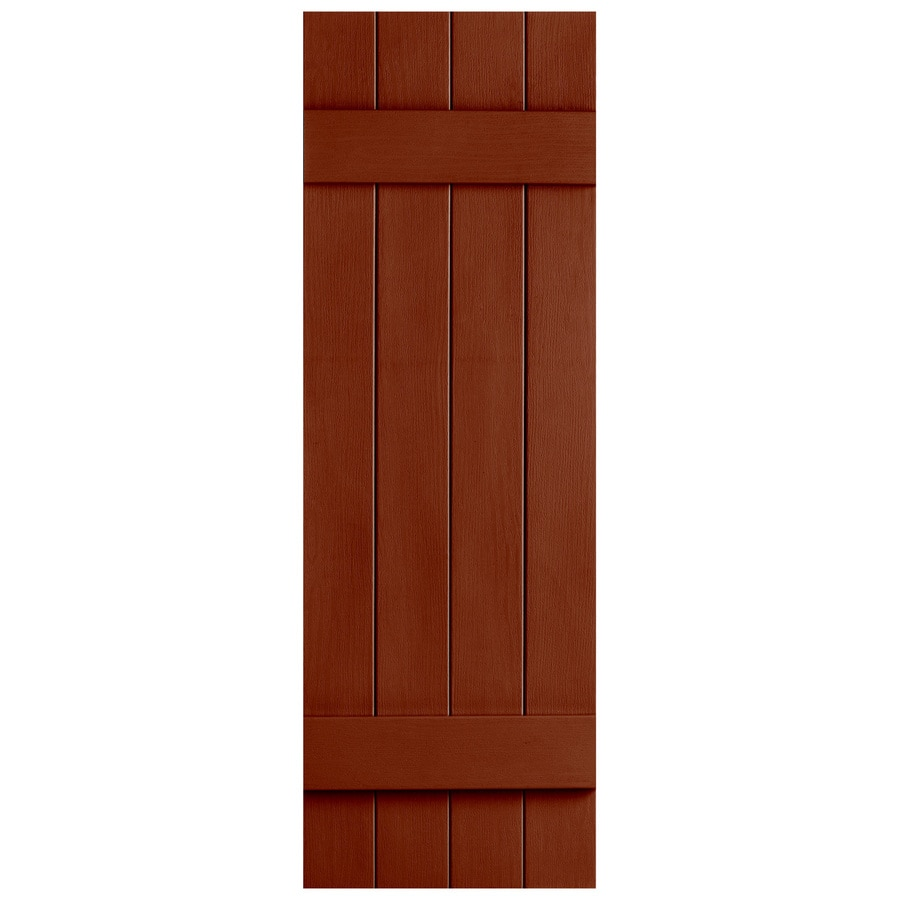 Severe Weather 2-Pack Earthen Red Board and Batten Vinyl Exterior Shutters (Common: 14-in x 51-in; Actual: 14.31-in x 51-in)