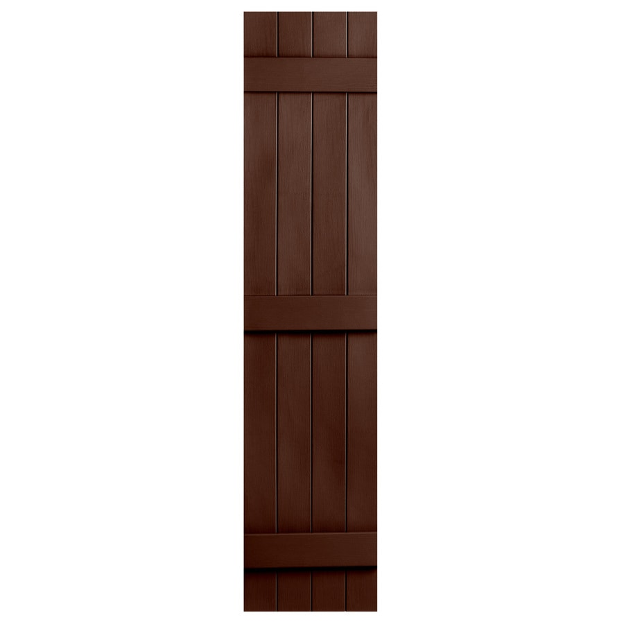 Severe Weather 2-Pack Brown Board and Batten Vinyl Exterior Shutters (Common: 14-in x 63-in; Actual: 14.31-in x 63-in)