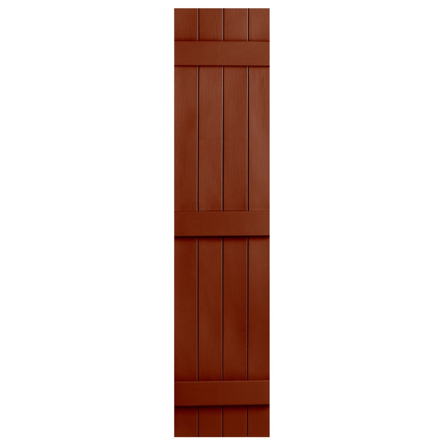 Severe Weather 2-Pack Earthen Red Board and Batten Vinyl Exterior Shutters (Common: 14-in x 67-in; Actual: 14.31-in x 67-in)