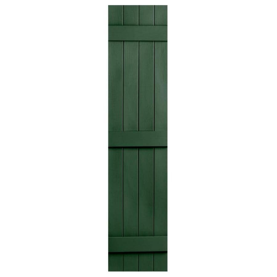Severe Weather 2-Pack Heritage Green Board and Batten Vinyl Exterior Shutters (Common: 14-in x 81-in; Actual: 14.31-in x 81-in)