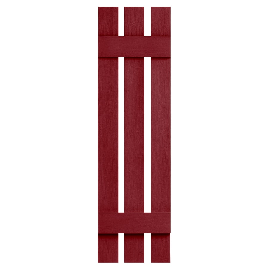 Severe Weather 2-Pack Cranberry Board and Batten Vinyl Exterior Shutters (Common: 12-in x 43-in; Actual: 12.38-in x 43-in)