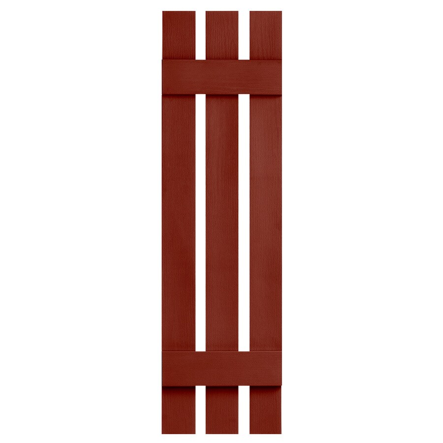 Severe Weather 2-Pack Red Board and Batten Vinyl Exterior Shutters (Common: 12-in x 51-in; Actual: 12.38-in x 51-in)