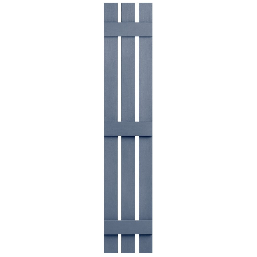 Severe Weather 2-Pack Blue Board and Batten Vinyl Exterior Shutters (Common: 12-in x 55-in; Actual: 12.38-in x 55-in)