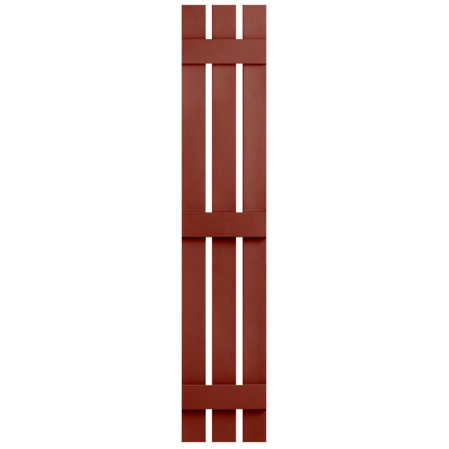 Severe Weather 2-Pack Red Board and Batten Vinyl Exterior Shutters (Common: 12-in x 55-in; Actual: 12.38-in x 55-in)