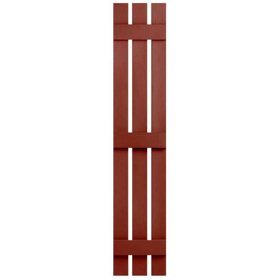 Severe Weather 2-Pack Red Board and Batten Vinyl Exterior Shutters (Common: 12-in x 63-in; Actual: 12.38-in x 63-in)
