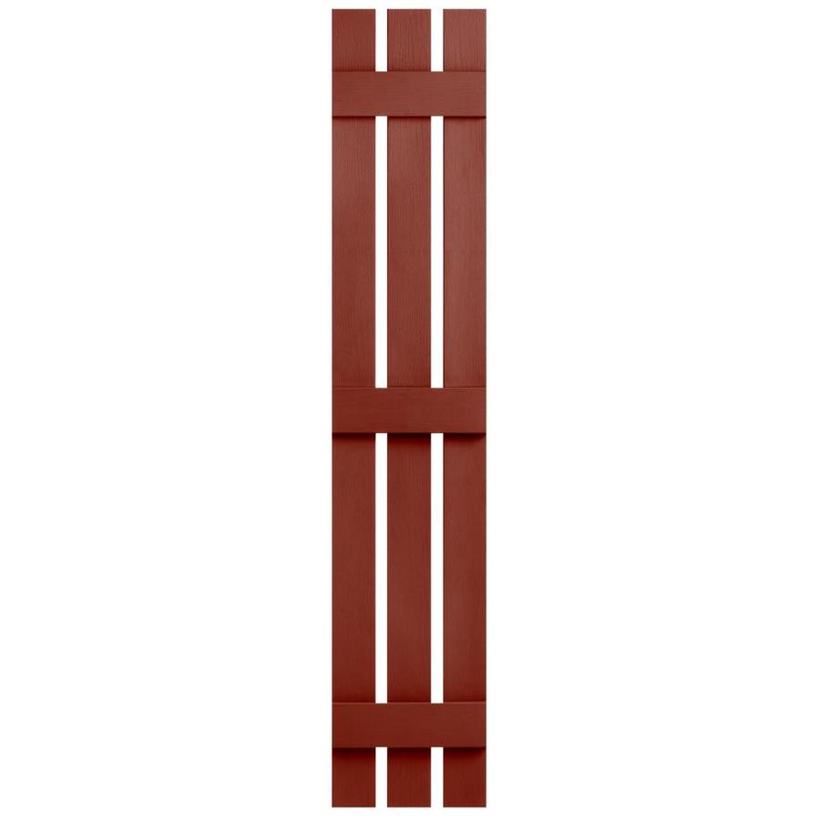 Severe Weather 2-Pack Red Board and Batten Vinyl Exterior Shutters (Common: 12-in x 71-in; Actual: 12.38-in x 71-in)