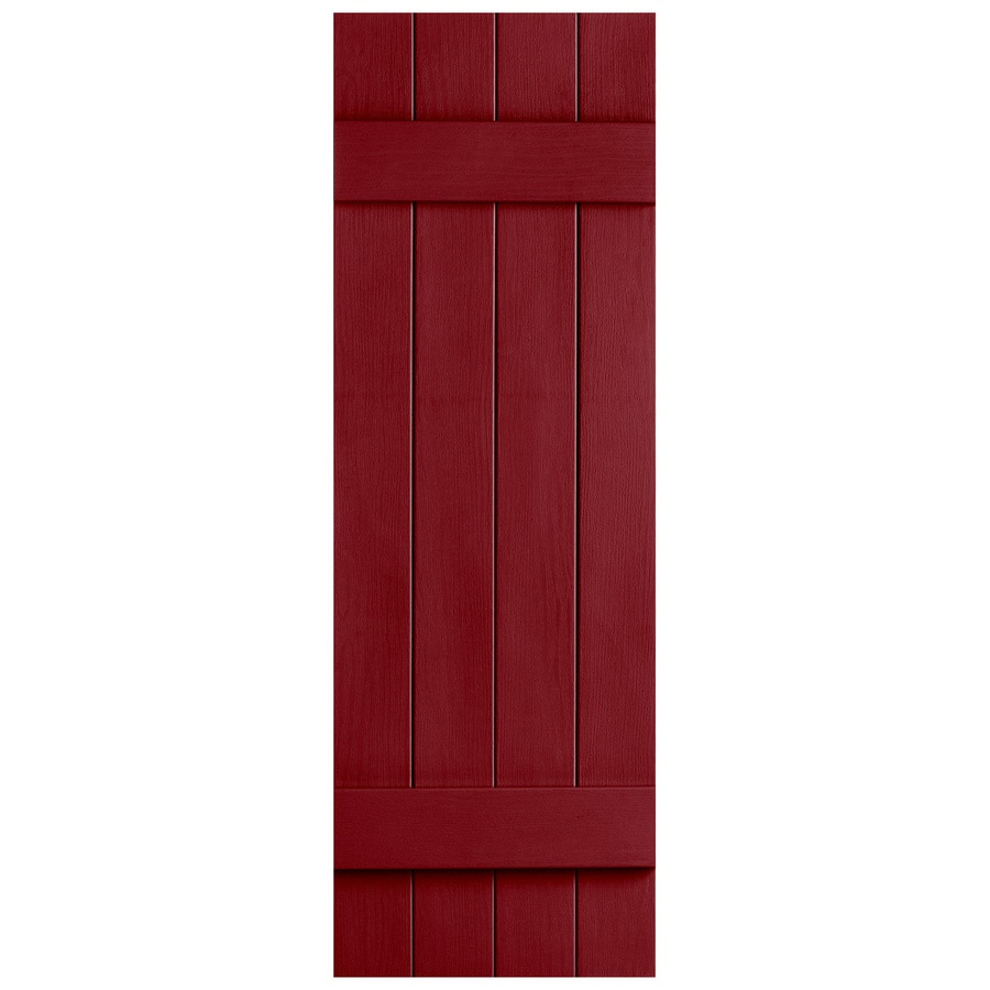 Severe Weather 2-Pack Cranberry Board and Batten Vinyl Exterior Shutters (Common: 14-in x 39-in; Actual: 14.31-in x 39-in)
