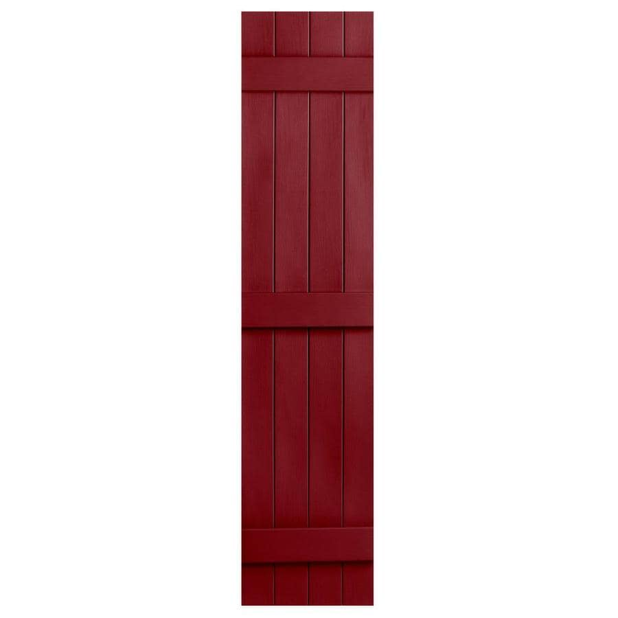 Severe Weather 2-Pack Cranberry Board and Batten Vinyl Exterior Shutters (Common: 14-in x 81-in; Actual: 14.31-in x 81-in)