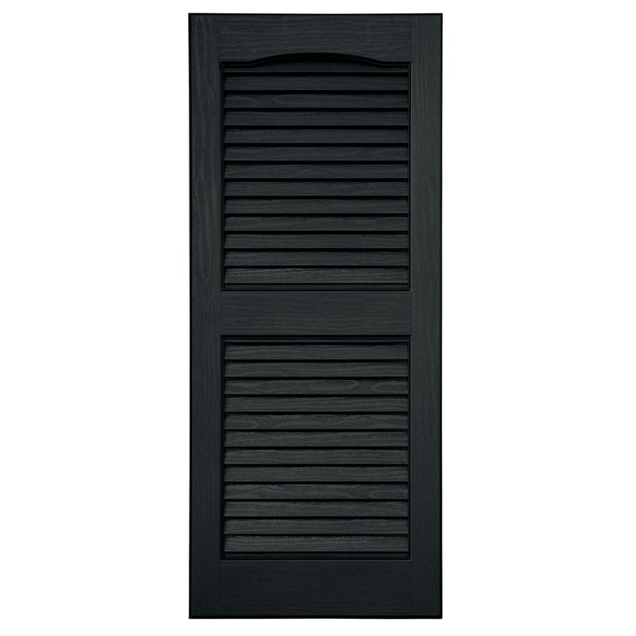Shop Severe Weather 2 Pack Black Louvered Vinyl Exterior Shutters Common 15 In X 35 In Actual