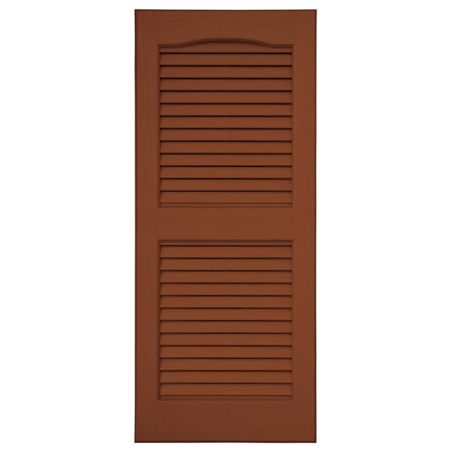 Severe Weather 2-Pack Earthen Red Louvered Vinyl Exterior Shutters (Common: 15-in x 35-in; Actual: 14.5-in x 34.5-in)