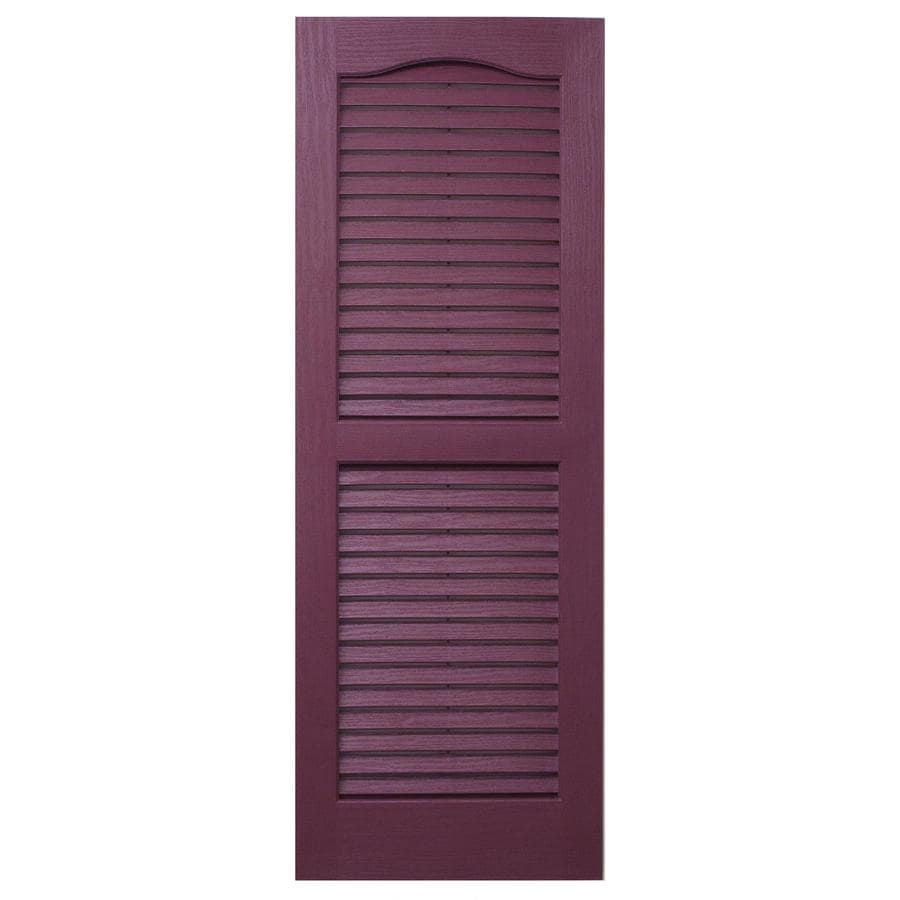 Severe Weather 2-Pack Bordeaux Louvered Vinyl Exterior Shutters (Common: 15-in x 35-in; Actual: 14.5-in x 34.5-in)