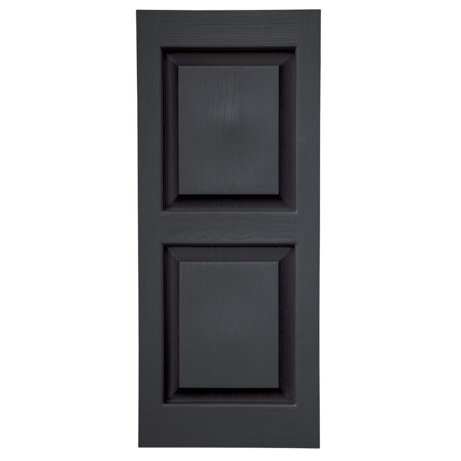 Severe Weather 2-Pack Black Raised Panel Vinyl Exterior Shutters (Common: 15-in x 35-in; Actual: 14.5-in x 34.5-in)