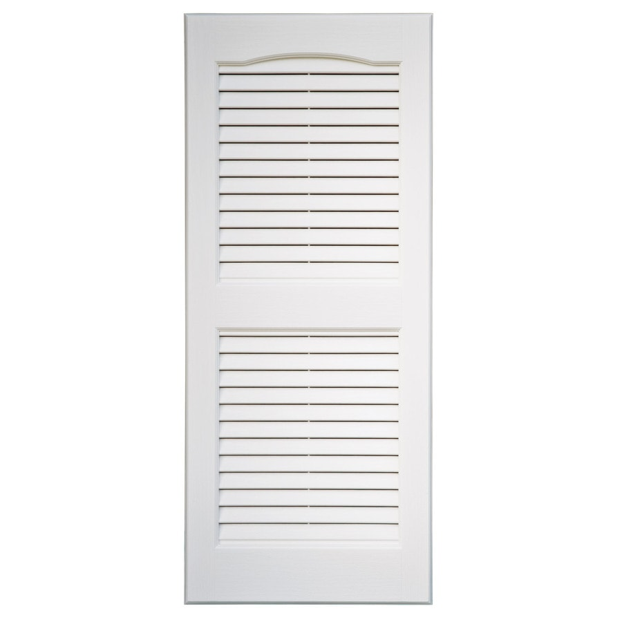 Shop severe weather 2 pack white louvered vinyl exterior shutters common 15 in x 39 in actual for Exterior louvered window shutters