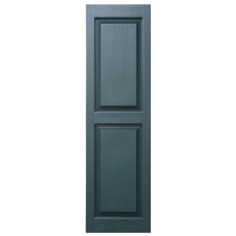 Severe Weather 2-Pack Heritage Green Raised Panel Vinyl Exterior Shutters (Common: 15-in x 39-in; Actual: 14.5-in x 38.5-in)