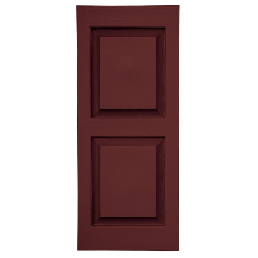 Severe Weather 2-Pack Bordeaux Raised Panel Vinyl Exterior Shutters (Common: 15-in x 39-in; Actual: 14.5-in x 38.5-in)