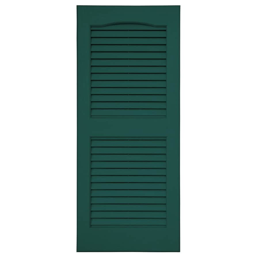 Severe Weather 2-Pack Green Louvered Vinyl Exterior Shutters (Common: 15-in x 47-in; Actual: 14.5-in x 46.5-in)