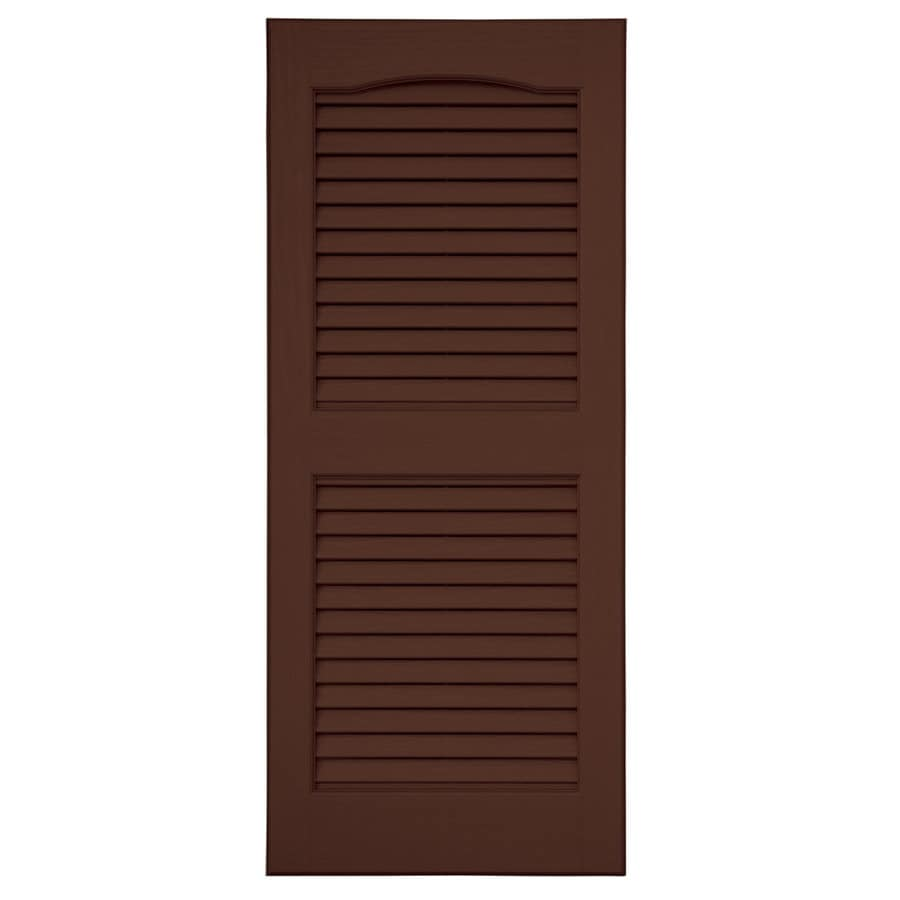 Severe Weather 2-Pack Brown Louvered Vinyl Exterior Shutters (Common: 15-in x 51-in; Actual: 14.5-in x 50.5-in)