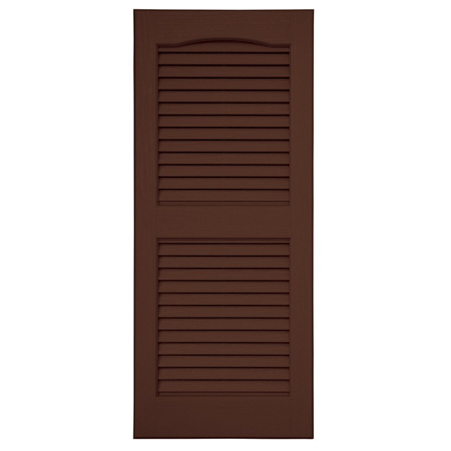 Shop Severe Weather 2-Pack Brown Louvered Vinyl Exterior Shutters ...