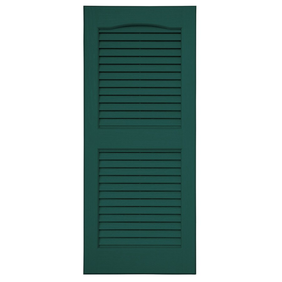 Severe Weather 2-Pack Green Louvered Vinyl Exterior Shutters (Common: 15-in x 59-in; Actual: 14.5-in x 58.5-in)