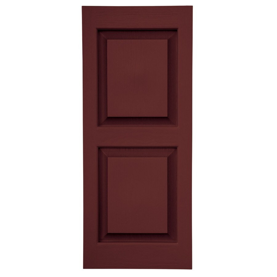 Severe Weather 2-Pack Bordeaux Raised Panel Vinyl Exterior Shutters (Common: 15-in x 59-in; Actual: 14.5-in x 58.5-in)