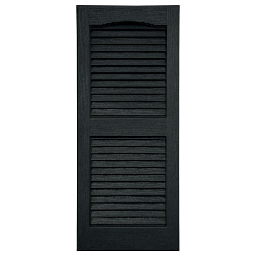 Severe Weather 2-Pack Black Louvered Vinyl Exterior Shutters (Common: 15-in x 63-in; Actual: 14.5-in x 62.5-in)