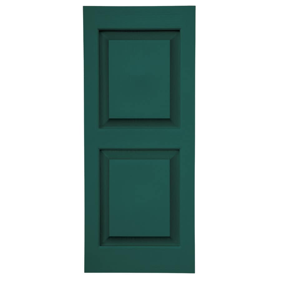Severe Weather 2-Pack Green Raised Panel Vinyl Exterior Shutters (Common: 15-in x 63-in; Actual: 14.5-in x 62.5-in)