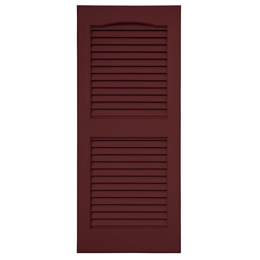 Severe Weather 2-Pack Bordeaux Louvered Vinyl Exterior Shutters (Common: 15-in x 67-in; Actual: 14.5-in x 66.5-in)