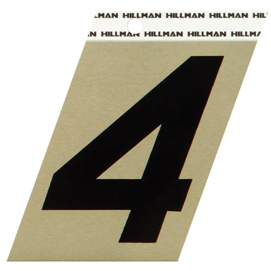 Hillman Sign Center 3-in Black and Gold House Number 4