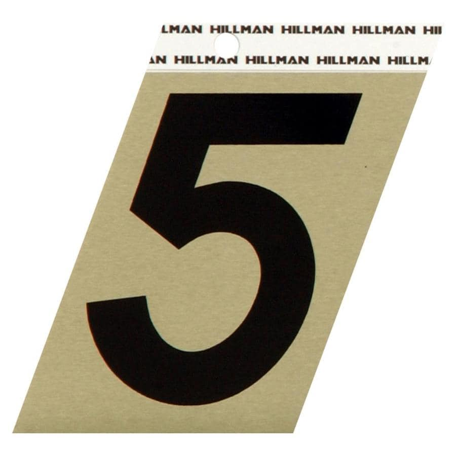 Hillman 3-in Black and Gold House Number 5