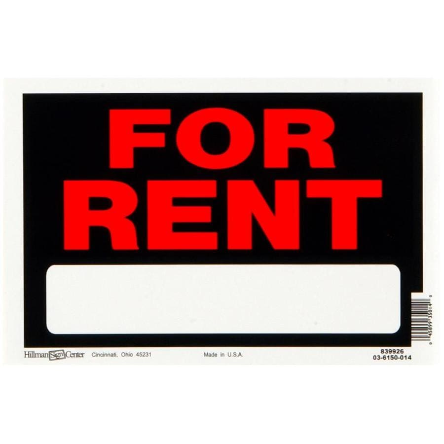 Hillman 8-in x 12-in for Rent Sign