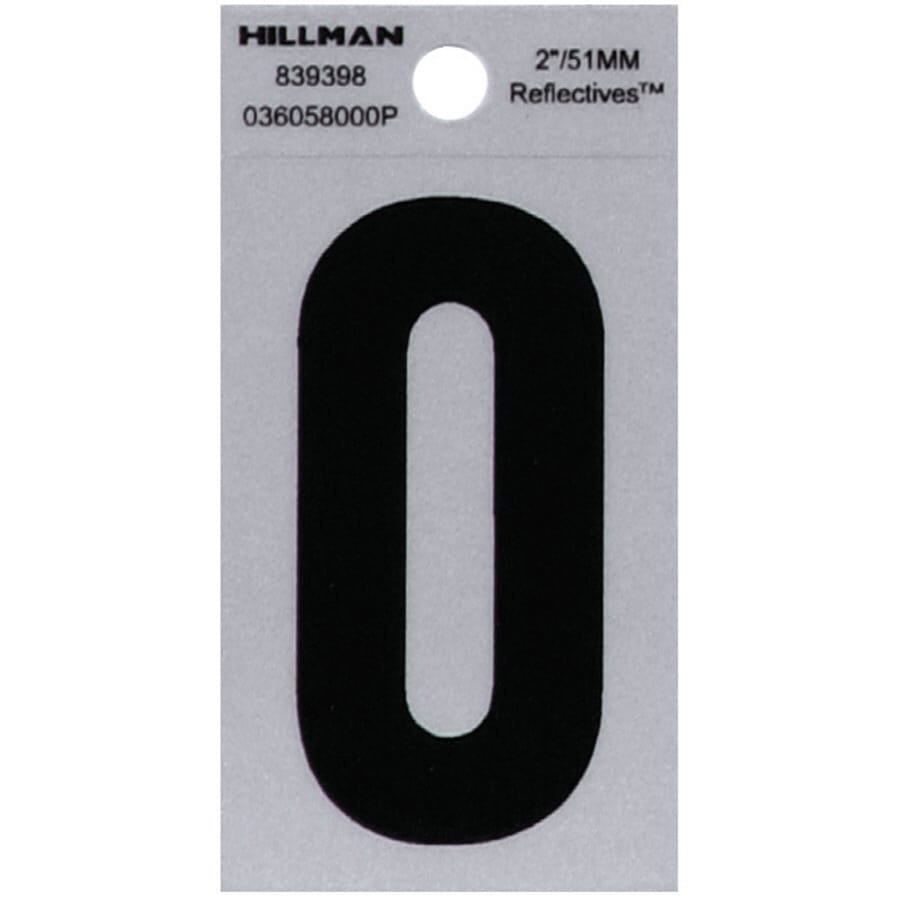 Hillman 2-in Reflective Black House Number 0