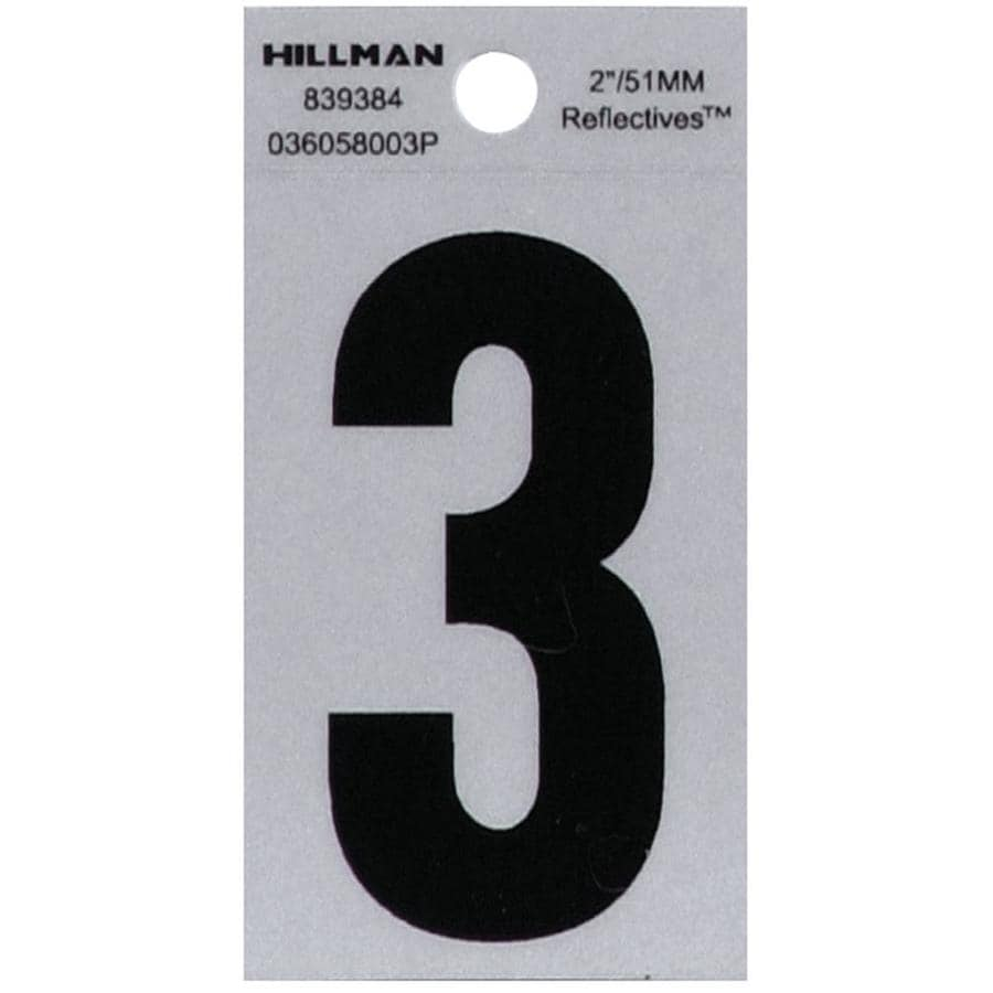 Hillman 2.4-in Reflective Black House Number Number 3