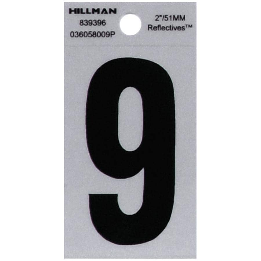 Hillman 2.1-in Reflective Black House Number Number 9