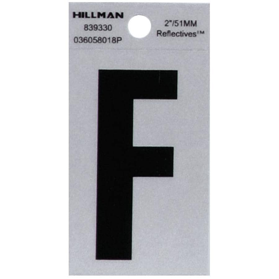 Hillman 2.4-in Reflective Black House Letter Letter F