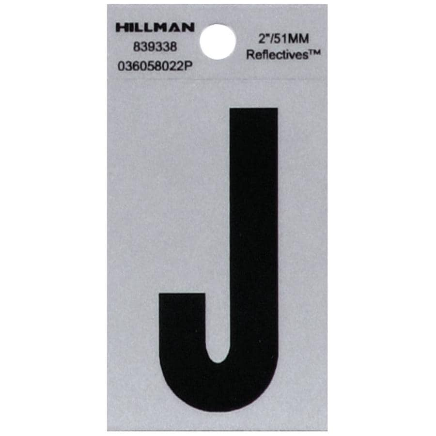 Hillman 2.6-in Reflective Black House Letter J