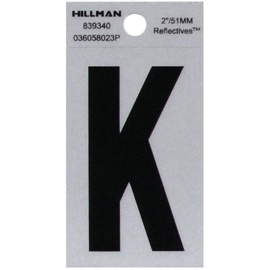 Hillman 2.4-in Reflective Black House Letter K