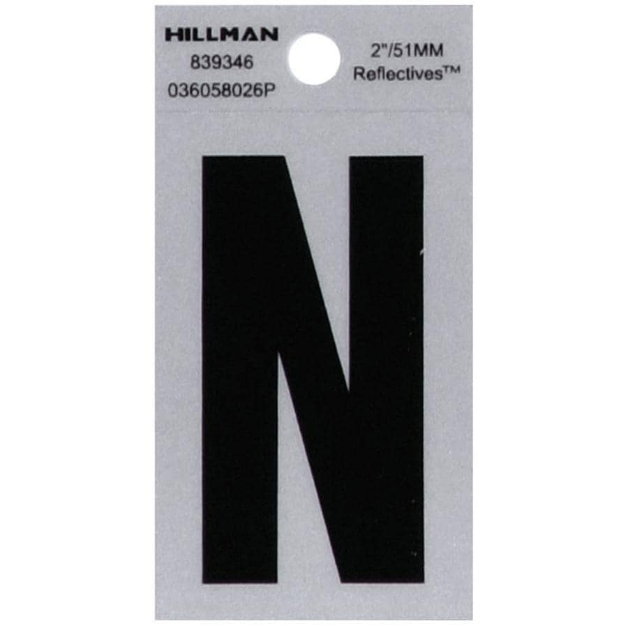 Hillman 2-in Reflective Black House Letter N