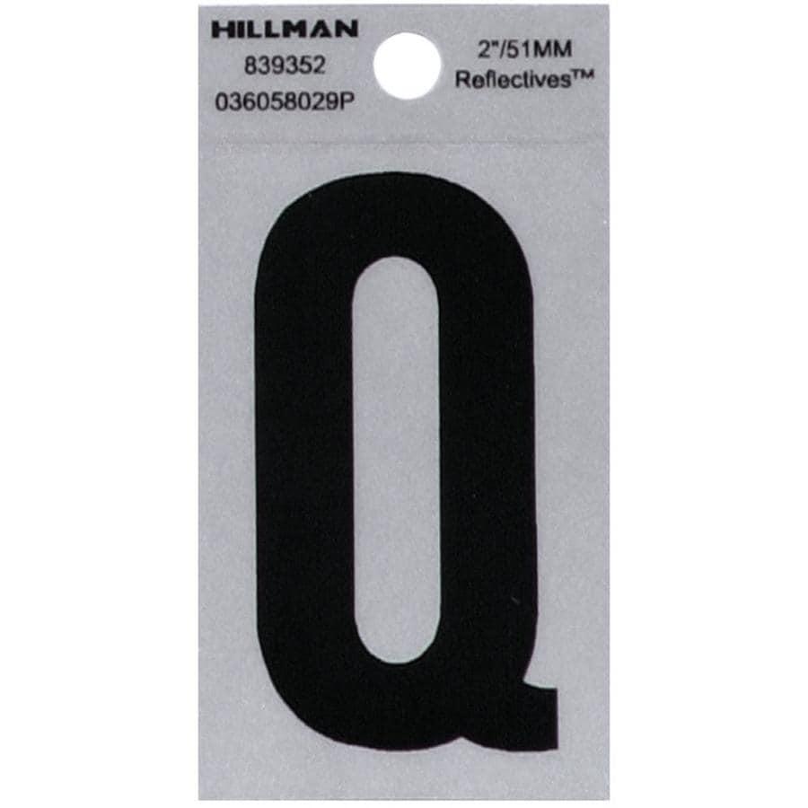 Hillman Sign Center 2.6-in Reflective Black House Letter Q
