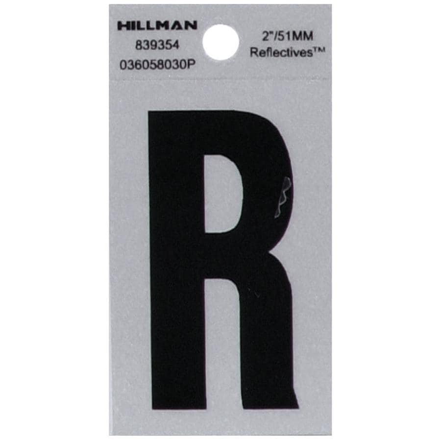 Hillman 2.4-in Reflective Black House Letter R