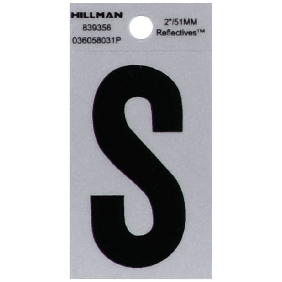 Shop hillman 2 in reflective black house letter s at lowescom for House letters lowes