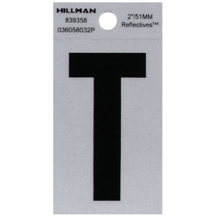 Hillman 2-in Reflective Black House Letter T