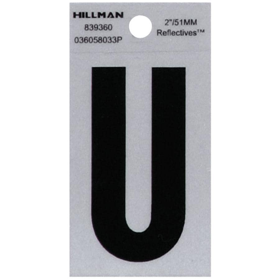Hillman 4.4-in Reflective Black House Letter U